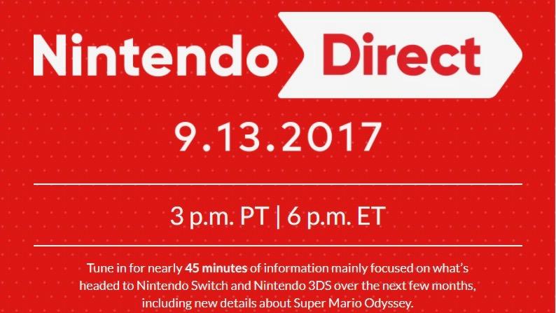ACTUS   RDV le 13 septembre pour le Nintendo Direct !