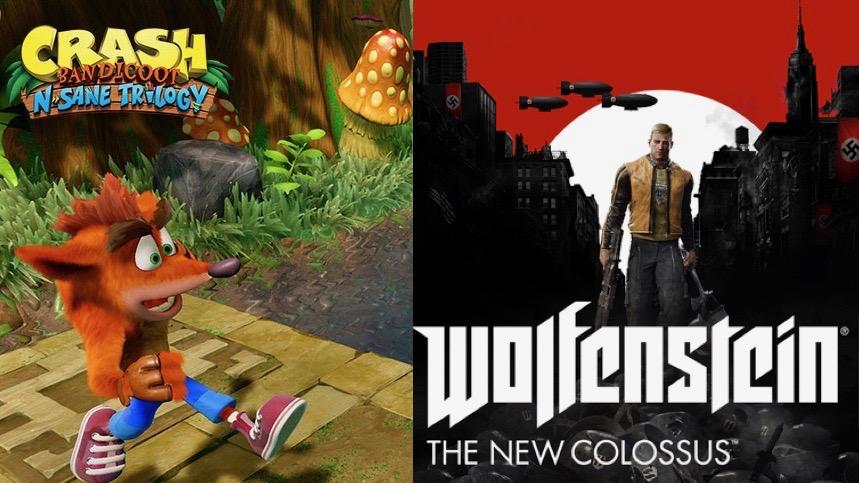 ACTUS | Le poids des versions Switch pour Wolfenstein 2 et Crash Bandicoot